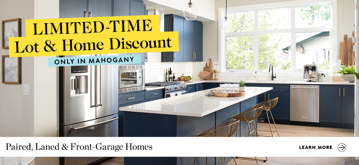 Graphic: Beautiful kitchen with blue cabinets.  Text: Limited Time Lot & Home Discount Only in Mahogany