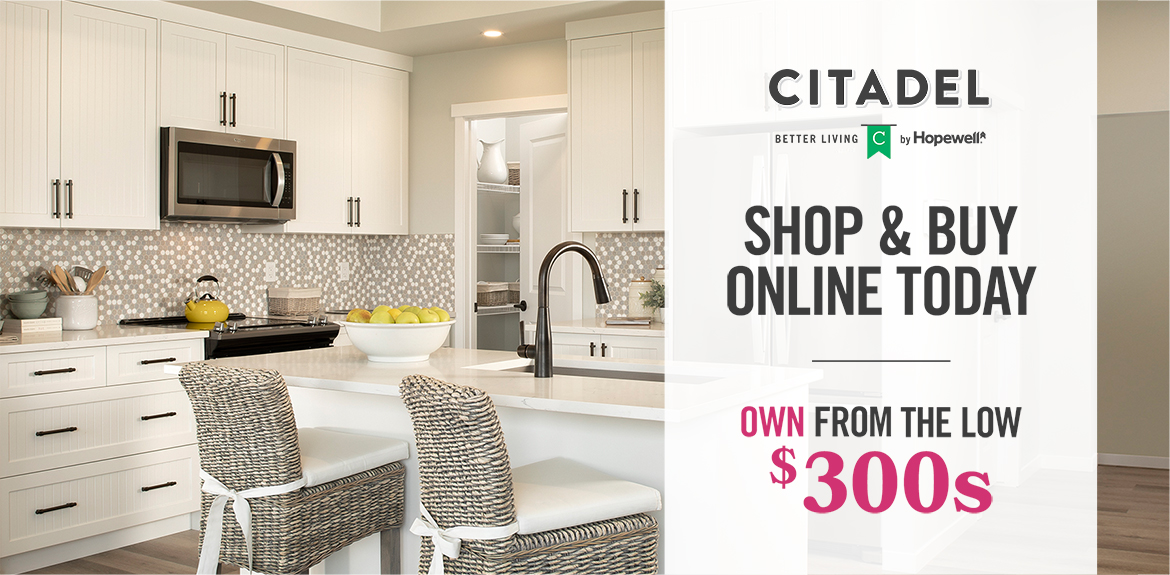 Graphic: Beautiful white kitchen. Text: Shop & Buy Online Today. Own from the low $300s.
