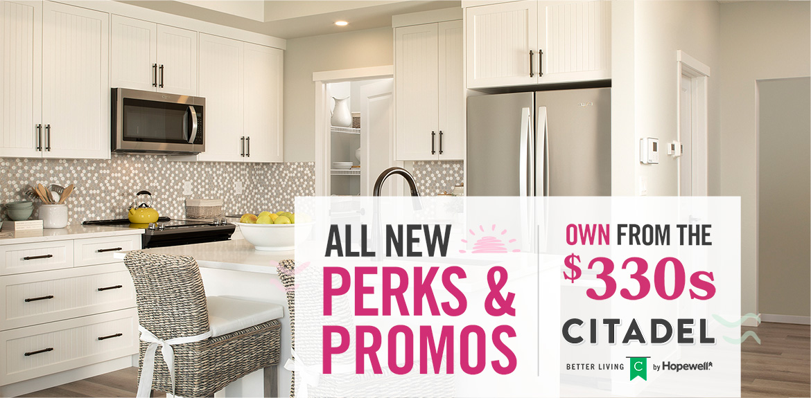 Text reads: All New Perks & Promos. Own from the $330s. Image: Beautiful white kitchen.