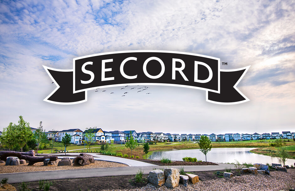 Secord logo over community landscape
