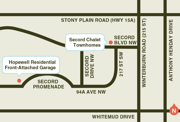 Show Home location map for Secord